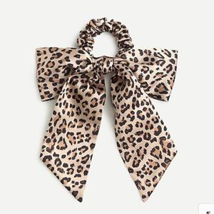 NWT J. Crew Leopard Satin Scrunchie With Bow